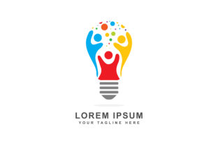 Logo Design of Abstract People in a Bulb Graphic By sabavector