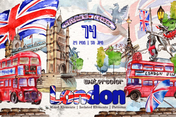 Print on Demand: London Watercolor Png Graphic Illustrations By MyStocks