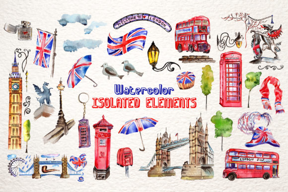 Print on Demand: London Watercolor Png Graphic Illustrations By MyStocks - Image 7