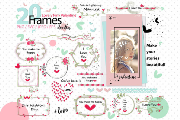 Download Free Lovely Pink Valentine Doodle Frames Graphic By 3motional for Cricut Explore, Silhouette and other cutting machines.