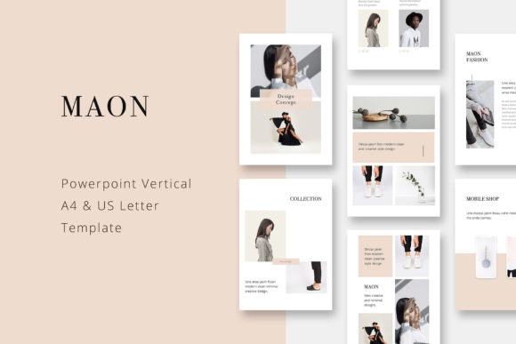 Print on Demand: Maon - Vertical Powerpoint A4 + US Letter Presentation Template Graphic Presentation Templates By pixasquare