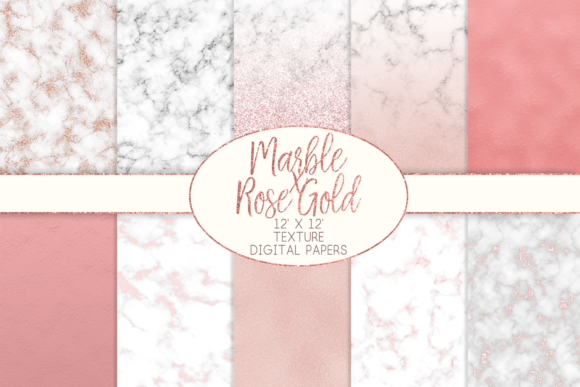 Print on Demand: Marble X Rose Gold Texture Digital Papers Graphic Textures By lilyuri0205