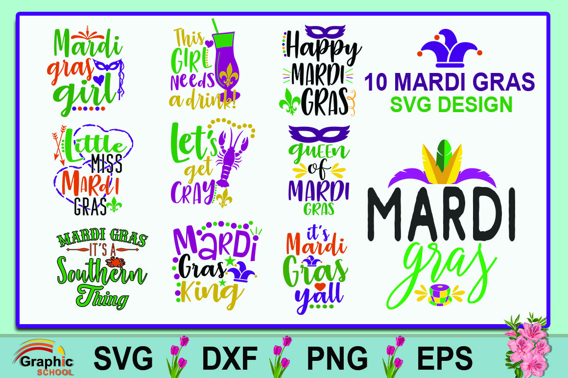Download Free Mardi Gras Bundle Graphic By Graphice School Creative Fabrica for Cricut Explore, Silhouette and other cutting machines.