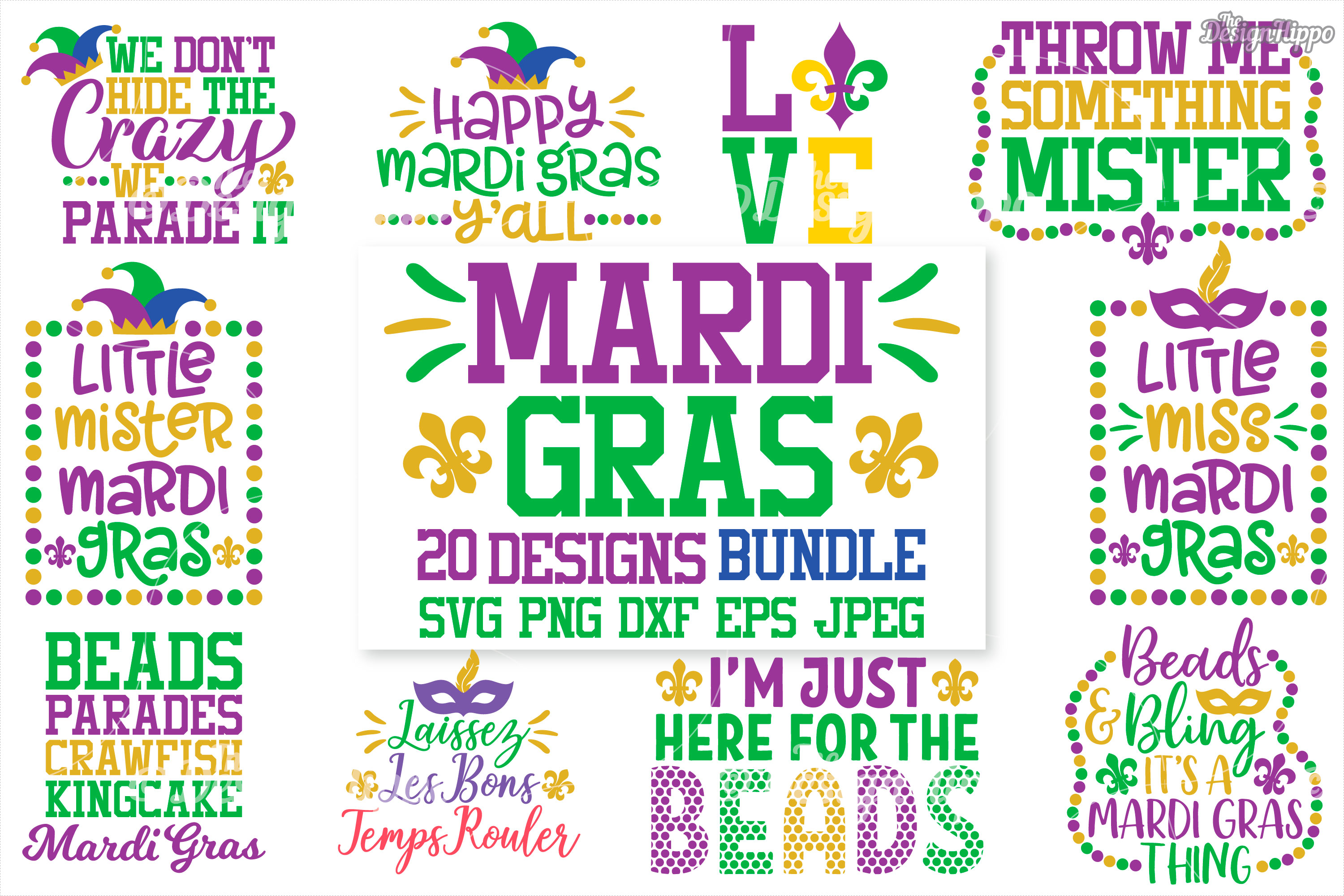 Download Free Mardi Gras Bundle Graphic By Thedesignhippo Creative Fabrica for Cricut Explore, Silhouette and other cutting machines.