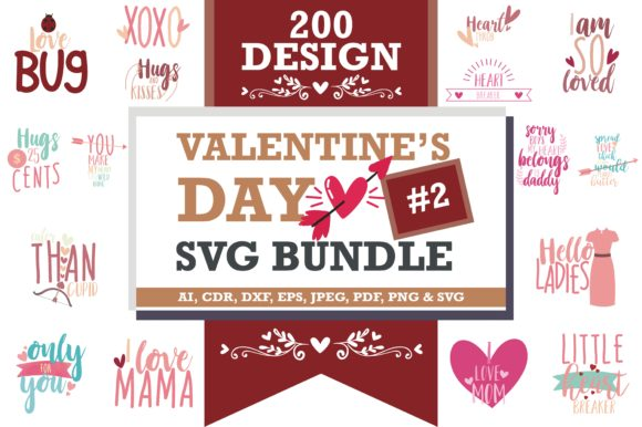 Print on Demand: Mega Bundle SVG Valentine's Day Grafik Designvorlagen von TheLucky