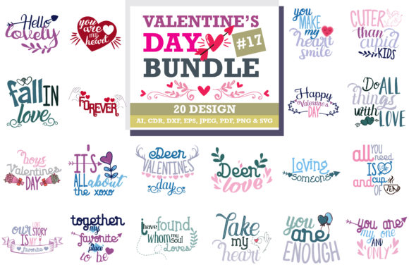Download Free Mega Bundle Valentine S Day Grafico Por Thelucky Creative Fabrica for Cricut Explore, Silhouette and other cutting machines.