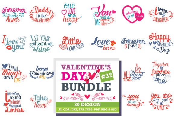 Download Free Mega Bundle Valentine S Day Graphic By Thelucky Creative Fabrica for Cricut Explore, Silhouette and other cutting machines.