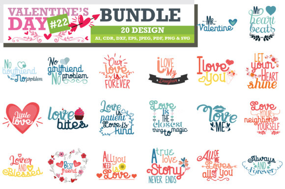 Print on Demand: Mega Bundle SVG Valentine's Day Graphic Crafts By TheLucky - Image 3