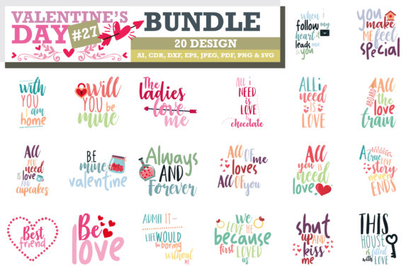 Print on Demand: Mega Bundle SVG Valentine's Day Graphic Crafts By TheLucky - Image 8
