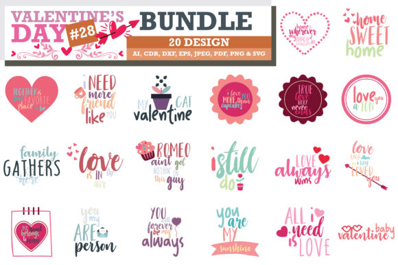 Print on Demand: Mega Bundle SVG Valentine's Day Graphic Crafts By TheLucky - Image 9