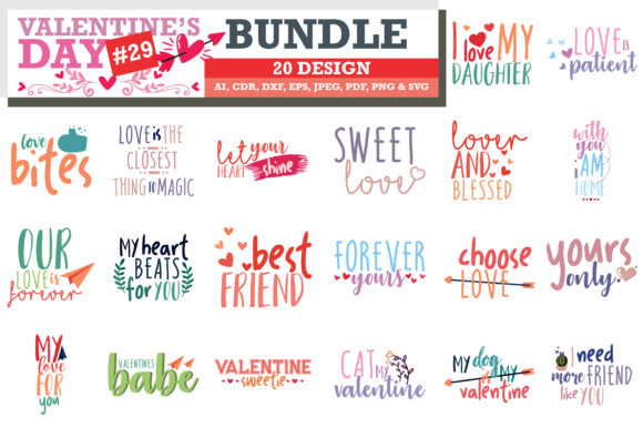 Print on Demand: Mega Bundle SVG Valentine's Day Graphic Crafts By TheLucky - Image 10