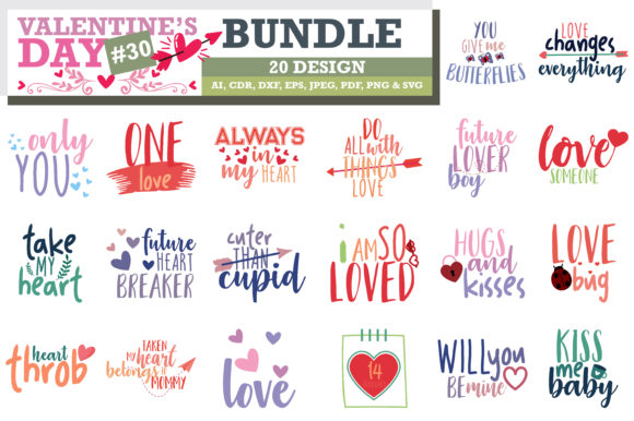 Print on Demand: Mega Bundle SVG Valentine's Day Graphic Crafts By TheLucky - Image 11