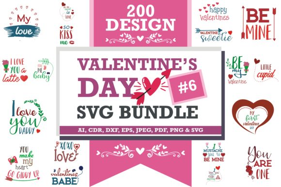 Print on Demand: Mega Bundle SVG Valentine's Day Graphic Crafts By TheLucky