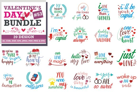Download Free Mega Bundle Valentine S Day Grafik Von Thelucky Creative Fabrica for Cricut Explore, Silhouette and other cutting machines.