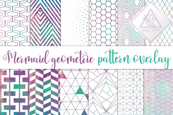 Print on Demand: Mermaid Pattern Overlay Clipart Graphic Patterns By fantasycliparts