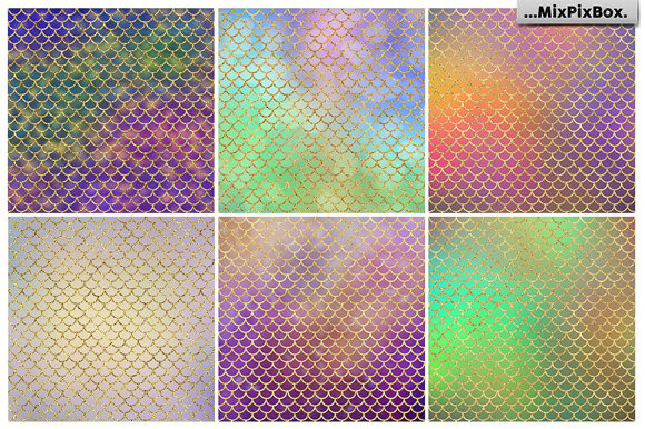 Print on Demand: Mermaid Scale Textures Graphic Textures By MixPixBox - Image 2