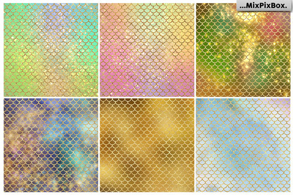 Print on Demand: Mermaid Scale Textures Graphic Textures By MixPixBox - Image 3