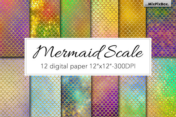 Print on Demand: Mermaid Scale Textures Graphic Textures By MixPixBox