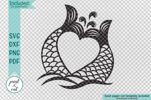 Download Free Mermaid Tails Heart Svg Graphic By Cornelia Creative Fabrica for Cricut Explore, Silhouette and other cutting machines.