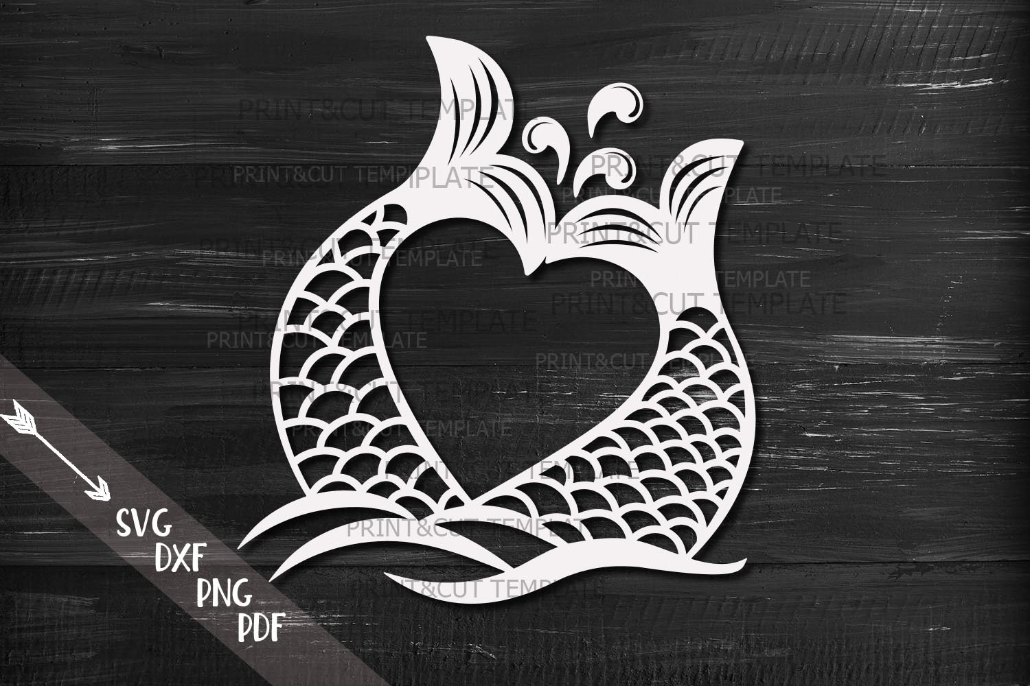 Mermaid Tails Heart SVG File