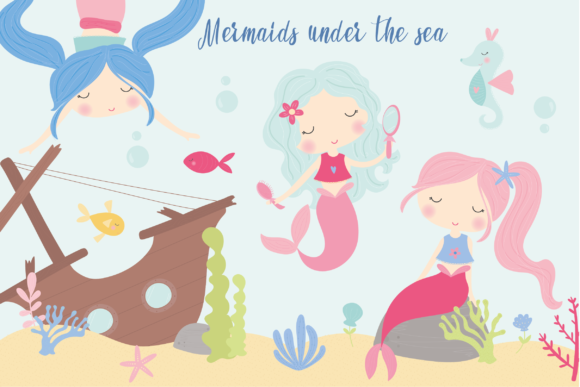 Print on Demand: Mermaids Under the Sea Graphic Illustrations By poppymoondesign