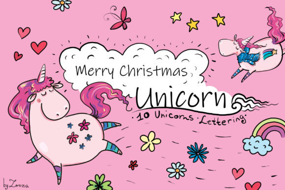Print on Demand: Merry Christmas Unicorn Graphic Objects By Zooza Art