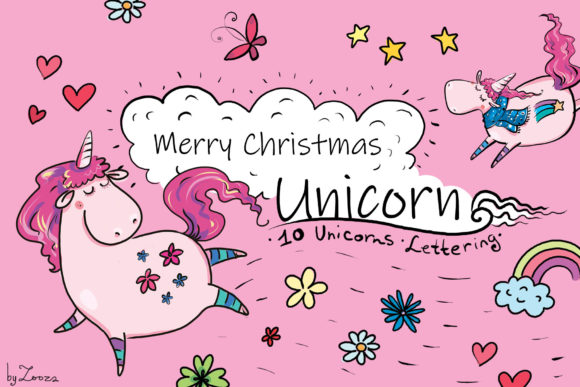 Download Free Merry Christmas Unicorn Graphic By Zooza Art Creative Fabrica for Cricut Explore, Silhouette and other cutting machines.