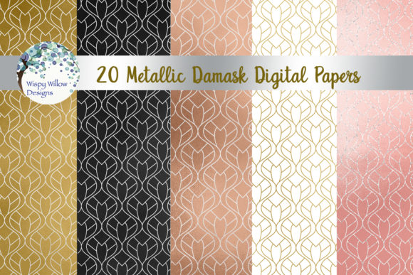 Metallic Damask Digital Paper Set Graphic Backgrounds By WispyWillowDesigns