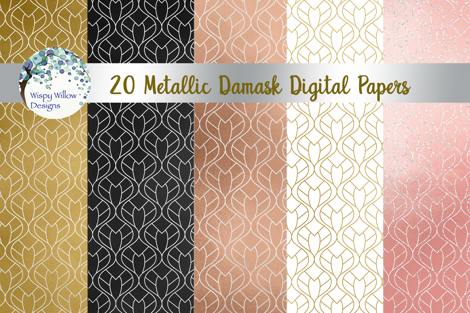 Download Free Metallic Damask Digital Paper Set Graphic By Wispywillowdesigns for Cricut Explore, Silhouette and other cutting machines.