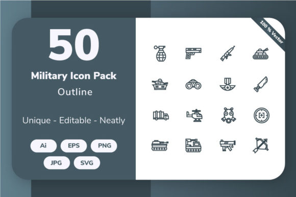Download Free Military Outline Graphic By Icon Stale Creative Fabrica for Cricut Explore, Silhouette and other cutting machines.