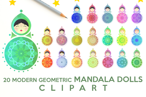 Download Free Modern Geometric Mandala Dolls Graphic By Artsbynaty Creative for Cricut Explore, Silhouette and other cutting machines.