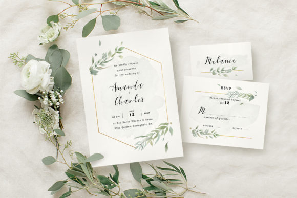 Download Free Modern Gold Foliage Wedding Suite Graphic By Blue Robin Design for Cricut Explore, Silhouette and other cutting machines.