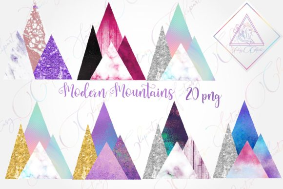 Print on Demand: Modern Mountains Clipart Graphic Illustrations By fantasycliparts