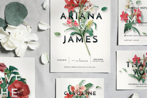 Download Free Modern Vintage Floral Wedding Invitation Suite Graphic By Blue for Cricut Explore, Silhouette and other cutting machines.