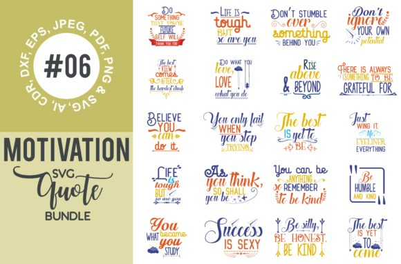 Print on Demand: Motivational Quotes Svg Bundle Gráfico Crafts Por TheLucky