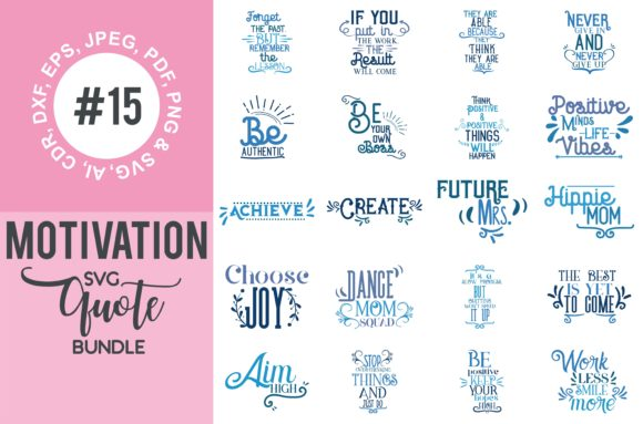 Print on Demand: Motivational Quotes Svg Bundle Graphic Crafts By TheLucky - Image 1
