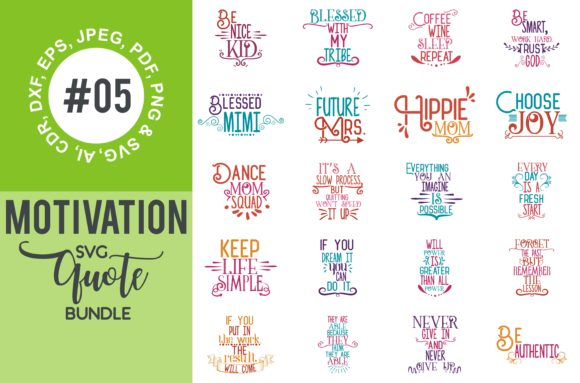 Print on Demand: Motivational Quotes Svg Bundle Graphic Crafts By TheLucky