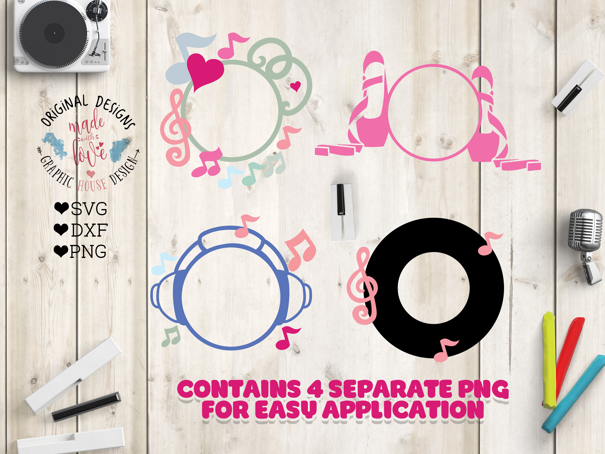 Download Free Music Dance Monogram Frames In Svg Graphic By Graphichousedesign for Cricut Explore, Silhouette and other cutting machines.