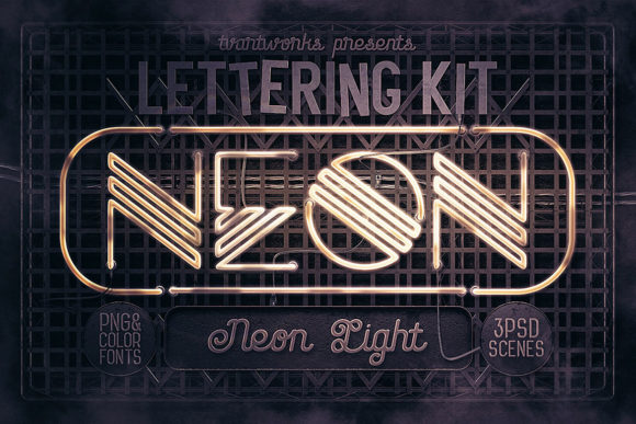 Neon Light Lettering Kit Graphic By Tvartworks Creative Fabrica