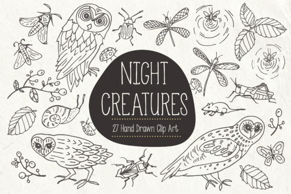 Night Creatures Clip Art & Vectors Graphic Illustrations By The Pen and Brush