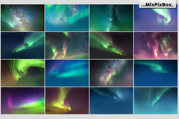 Print on Demand: Northern Lights Photo Overlays Graphic Layer Styles By MixPixBox - Image 3