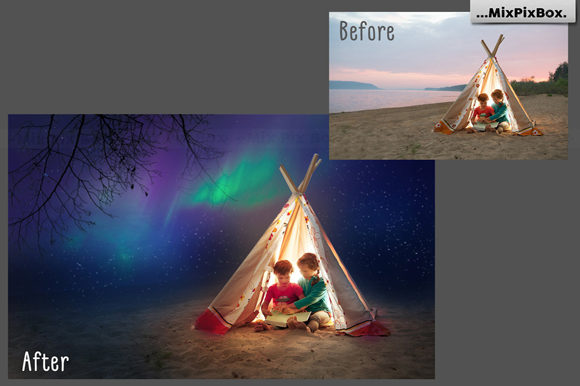 Print on Demand: Northern Lights Photo Overlays Graphic Layer Styles By MixPixBox - Image 5