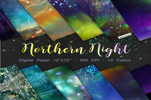 Print on Demand: Northern Night Backgrounds Gráfico Fondos Por MixPixBox