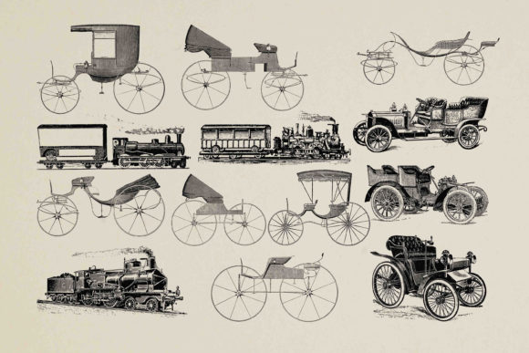 Print on Demand: Old Car Clipart Graphic Illustrations By retrowalldecor