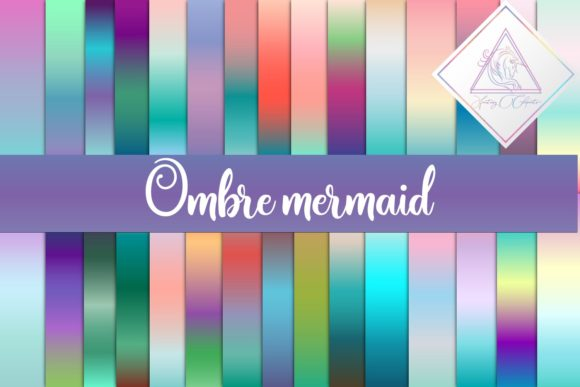 Print on Demand: Ombre Mermaid Digital Papers Graphic Textures By fantasycliparts