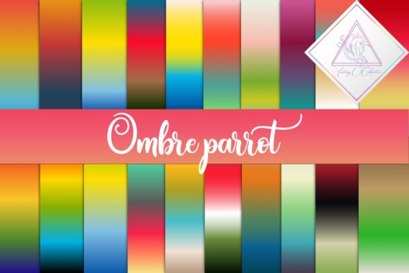 Print on Demand: Ombre Parrot Digital Paper Graphic Textures By fantasycliparts - Image 1