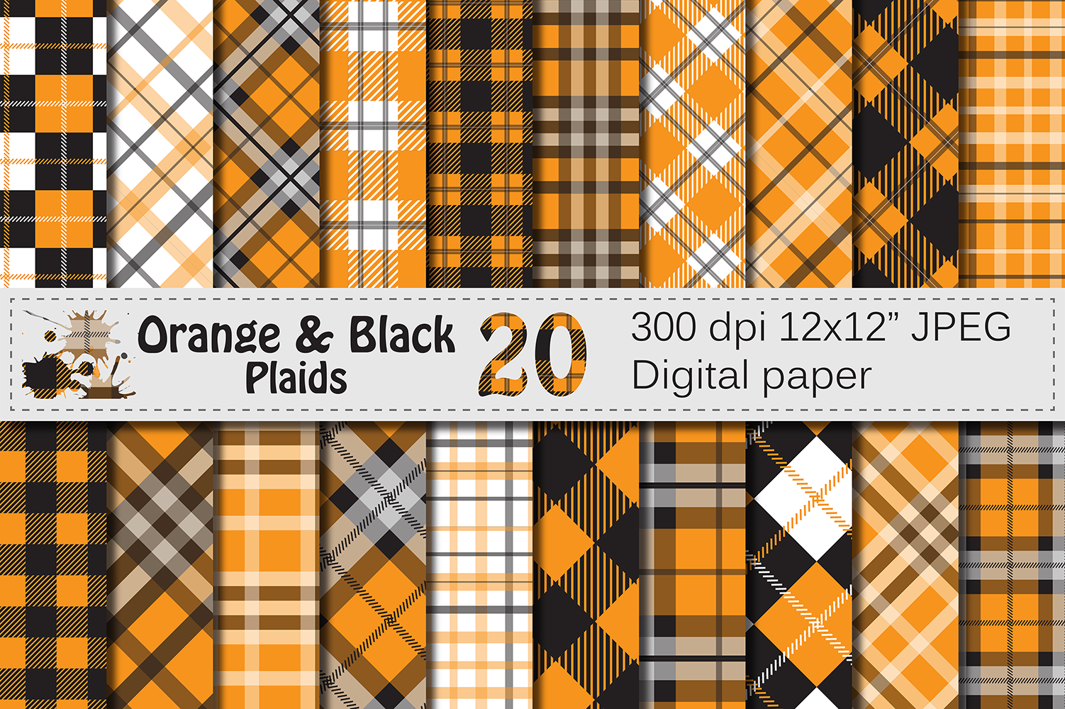 Download Free Orange And Black Plaid Digital Pattern Graphic By Vr Digital for Cricut Explore, Silhouette and other cutting machines.