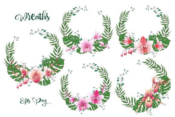 Print on Demand: Orchids Floral Arrangements Vector Set Graphic Illustrations By nicjulia - Image 2