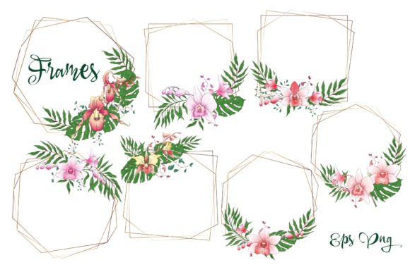 Print on Demand: Orchids Floral Arrangements Vector Set Graphic Illustrations By nicjulia - Image 4