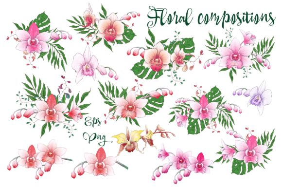 Print on Demand: Orchids Floral Arrangements Vector Set Graphic Illustrations By nicjulia - Image 5